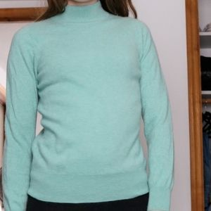 Sweaters - Cashmere Light blue/Mint green High Neck Sweater
